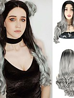 cheap -Synthetic Wig 24 Wavy Body Wave Middle Part Wig 24 inch Ombre Grey Synthetic Hair 24 inch Women's Cosplay Party African American Wig Gray