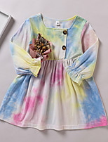 cheap -Kids Little Girls' Dress Tie Dye Print Rainbow Long Sleeve Active Dresses Summer Regular Fit 2-6 Years