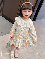 cheap -children's clothing girls dress 2021 new korean children's spring and autumn dress long-sleeved princess dress baby floral skirt tide