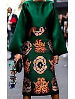 cheap -Women's Sheath Dress Knee Length Dress Green Long Sleeve Solid Color Print Spring Summer Round Neck Casual 2021 S M L XL XXL 3XL