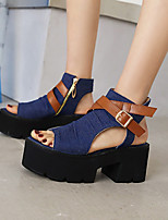 cheap -Women's Sandals Platform Open Toe Denim PU Color Block Black Dark Blue Light Blue