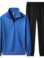 cheap -Men's Hiking Shirt with Pants Long Sleeve Clothing Suit Outdoor Front Zipper Quick Dry Lightweight Breathable Autumn / Fall Spring Summer Spandex Polyester Solid Color Black Blue Grey Fishing Beach