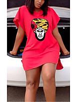 cheap -Women's T Shirt Dress Tee Dress Short Mini Dress Red Short Sleeve Print Print Summer Round Neck Casual 2021 S M L XL