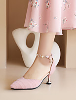 cheap -Women's Sandals Kitten Heel Pointed Toe Cotton Pearl Solid Colored White Black Pink