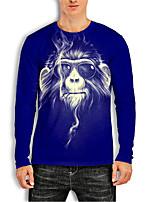 cheap -Men's Tees T shirt 3D Print Graphic Prints Orangutan Animal Print Long Sleeve Daily Tops Basic Casual Blue