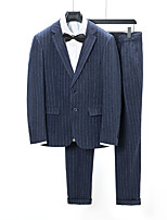 cheap -Tuxedos Tailored Fit Notch Single Breasted Two-buttons Polyester Stripes