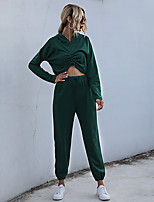 cheap -Women's Basic Streetwear Solid Color Daily Two Piece Set Hoodies & Sweatshirts Tracksuit Pant Loungewear Ruched Tops