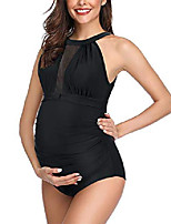 cheap -womens one piece maternity swimsuit halter v neck mesh flattering ruched pregnant bathing suit (black, small)