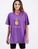 cheap -Women's T shirt Graphic Letter Print Round Neck Tops Cotton Basic Basic Top White Black Purple