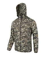 cheap -Men's Hunting Jacket Outdoor Breathable Ventilation Fast Dry Front Zipper Fall Spring Summer Solid Colored Polyester Yellow Camouflage Grey
