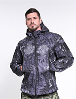 cheap -Men's Hiking Softshell Jacket Hiking Fleece Jacket Winter Outdoor Waterproof Lightweight UV Sun Protection Breathable Jacket Top Fishing Climbing Camping / Hiking / Caving Jungle camouflage