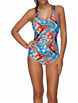 cheap -Women's One Piece Swimsuit Elastane Swimwear Bodysuit Breathable Quick Dry Sleeveless Swimming Surfing Water Sports Floral / Botanical Summer