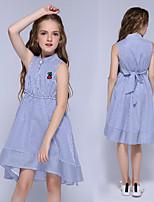 cheap -Kids Little Girls' Dress Striped Holiday Blue Knee-length Sleeveless Sweet Dresses Children's Day Summer Regular Fit 3-13 Years