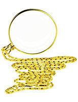 "cheap -5X Magnifying Glass Pendant 1.6"" Glass Lens Dia and 35"" Alloy Necklace (Golden/Silver)"