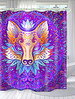 cheap -Colored Three-Eyed Fox Digital Printing Shower Curtain Shower Curtains  Hooks Modern Polyester New Design