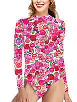 cheap -Women's New Vacation Cute One Piece Swimsuit Color Block Fruit Tummy Control Print Bodysuit Normal High Neck Swimwear Bathing Suits Blushing Pink / Party