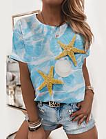 cheap -Women's T shirt Graphic Print Round Neck Tops Basic Basic Top White Blue Green