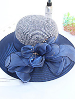 cheap -Vintage Style Elegant Tulle / Straw Hats / Headwear / Straw Hats with Imitation Pearl / Appliques / Ruching 1 Piece Casual / Holiday Headpiece