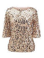 cheap -women sequin sparkle glitter tank coctail party tops shining t-shirt blouses gold