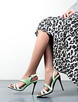 cheap -Women's Sandals Stiletto Heel Open Toe Microfiber Color Block Pink Green