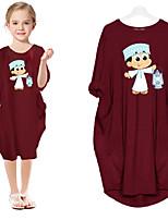 cheap -Kids Little Girls' Dress Cartoon Holiday Print Blue Blushing Pink Wine Knee-length Long Sleeve Sweet Dresses Children's Day Spring &  Fall Spring & Summer Loose 2-9 Years