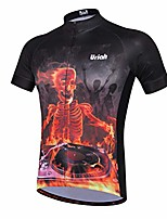 cheap -men's cycling jersey short sleeve reflective with rear zippered bag skull party size m