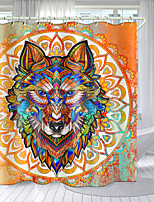 cheap -Round Wolf Head Totem Digital Printing Shower Curtain Shower Curtains  Hooks Modern Polyester New Design