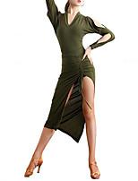 cheap -Latin Dance Dress Solid Women's Training Performance Long Sleeve High Poly&Cotton Blend
