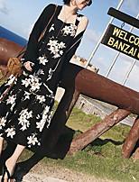 cheap -Sheath / Column Beautiful Back Bohemian Holiday Party Wear Dress Scoop Neck Sleeveless Tea Length Chiffon with Ruffles Pattern / Print 2021