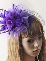 cheap -Retro Hyperbole Tulle Fascinators with Feather / Solid 1 Piece Special Occasion / Party / Evening Headpiece