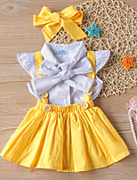 cheap -Kids Toddler Little Girls' Dress Polka Dot Solid Colored Causal Ruched Bow Yellow Above Knee Sleeveless Regular Active Basic Dresses Children's Day Summer Regular Fit 3-8 Years