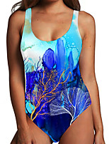 cheap -Women's One Piece Monokini Swimsuit Tummy Control Print Color Block Abstract Blue Swimwear Bodysuit Strap Bathing Suits New Fashion Sexy