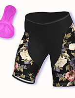 cheap -21Grams Women's Cycling Shorts Spandex Bike Padded Shorts / Chamois Breathable Sports Floral Botanical Black Mountain Bike MTB Road Bike Cycling Clothing Apparel Bike Wear / Stretchy / Athleisure