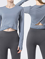 cheap -Women's Tee / T-shirt Cut Out Crossover Crew Neck Spandex Sport Athleisure T Shirt Top Long Sleeve Breathable Soft Comfortable Yoga Exercise & Fitness Running Everyday Use Street Casual Daily Outdoor