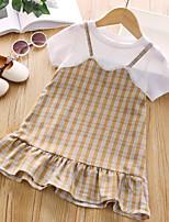 cheap -Kids Little Girls' Dress Plaid Ruffle Blue Brown Knee-length Short Sleeve Cute Dresses Fall Summer Regular Fit