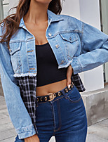 cheap -Women's Color Block Patchwork Fall & Winter Denim Jacket Regular Daily Long Sleeve Denim Coat Tops Blue