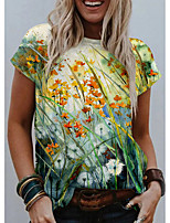 cheap -Women's T shirt Graphic Floral 3D Print Round Neck Tops Basic Basic Top Blue Green Gray