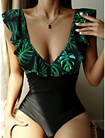 cheap -Women's One Piece Monokini Swimsuit Open Back Slim Solid Color Leaf figure 1 As shown in Figure 2 As shown in Figure 3 Swimwear Padded Bodysuit V Wire Bathing Suits New Fashion Sexy
