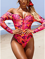 cheap -Women's One Piece Romper Swimsuit Slim Print Tropical Leaf Long sleeve one piece Swimwear Padded Bodysuit Off Shoulder Bathing Suits New Fashion Sexy