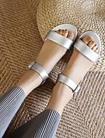 cheap -Women's Sandals Boho Bohemia Beach Flat Heel Round Toe PU Synthetics Black Champagne Silver