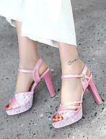 cheap -Women's Sandals Pumps Open Toe PU Synthetics Buckle Sequin Color Block White Black Pink
