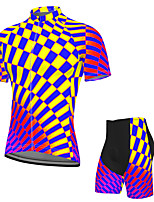 cheap -Men's Short Sleeve Cycling Jersey with Shorts Spandex Purple Bike Breathable Quick Dry Sports Geometric Mountain Bike MTB Road Bike Cycling Clothing Apparel / Stretchy / Athletic / Athleisure