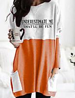 cheap -Women's T shirt Graphic Letter Long Sleeve Pocket Round Neck Tops 100% Cotton Basic Basic Top Black Orange Khaki