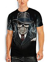cheap -Men's Tees T shirt 3D Print Graphic Prints Skull Print Short Sleeve Daily Tops Basic Casual Black