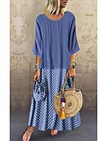 cheap -Women's Wrap Dress Maxi long Dress Black Blue Blushing Pink Green 3/4 Length Sleeve Polka Dot Solid Color Print Spring Summer Round Neck Casual 3D Print S M L XL XXL