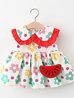 cheap -Toddler Little Girls' Dress Floral Print Yellow Green Knee-length Sleeveless Regular Cute Dresses Summer Loose 2-4 Years