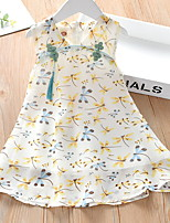 cheap -Kids Little Girls' Dress Animal Print Blushing Pink Beige Knee-length Sleeveless Sweet Dresses Summer Regular Fit 3-8 Years