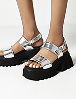 cheap -Women's Sandals Platform Round Toe PU Synthetics Black Silver
