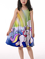 cheap -Kids Little Girls' Dress Horse Rainbow Graphic Ruched Print Light Green Knee-length Sleeveless 3D Print Cute Dresses Loose 4-13 Years