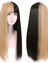cheap -Long Straight Black to Blonde Ombre Wigs with Bangs for Girls Heat Resistant Synthetic Fashion Cosplsy Party Wigs
